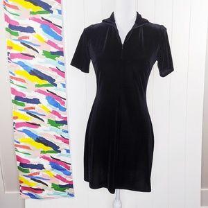 90s Grunge Shelli Segal Velvet Zip Dress